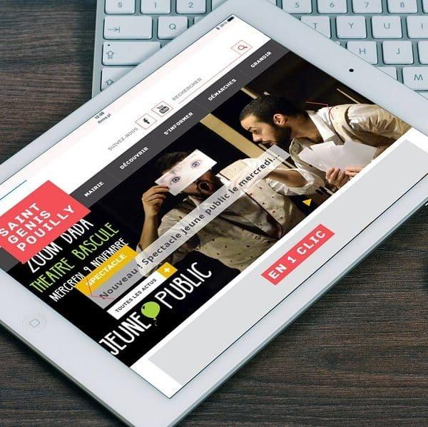 Affichage du site internet de Saint-Genis-Pouilly sur tablette