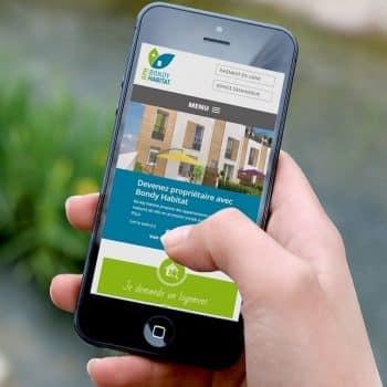 Affichage du site de Bondy Habitat sur smartphone