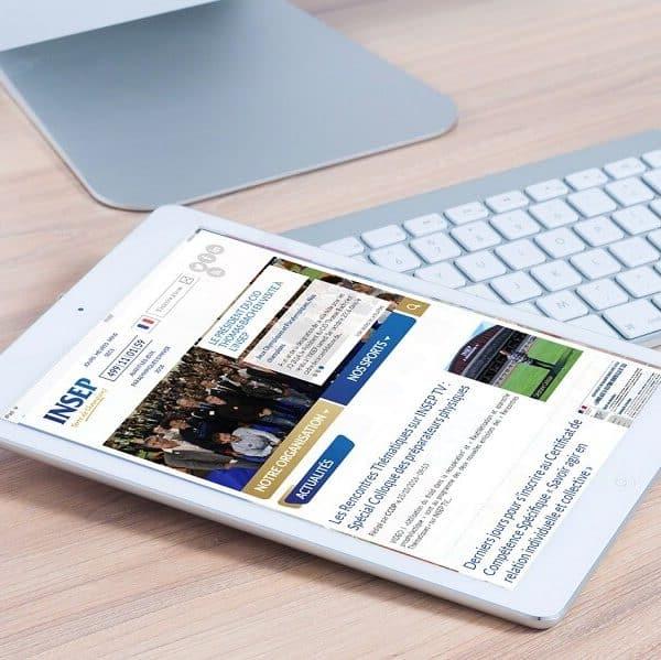 Affichage du site internet de l'INSEP sur tablette