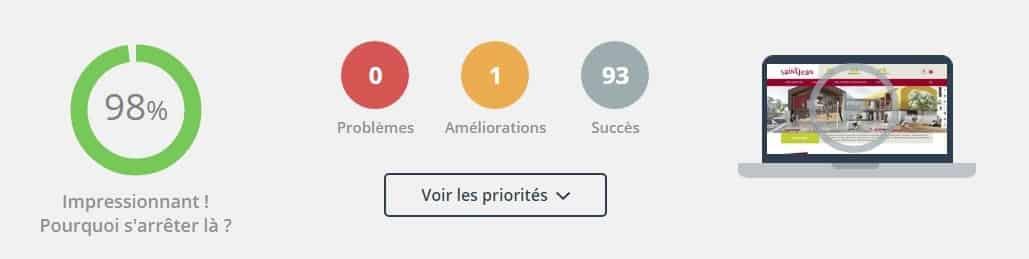 Score Dareboost Ville de Saint-Jean - 98%