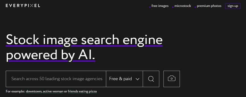 Banque d'images - Capture d'écran d'Everypixel