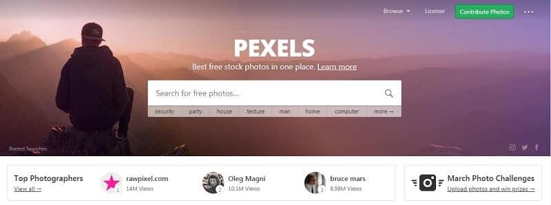 Banque d'images - Capture d'écran de Pexels