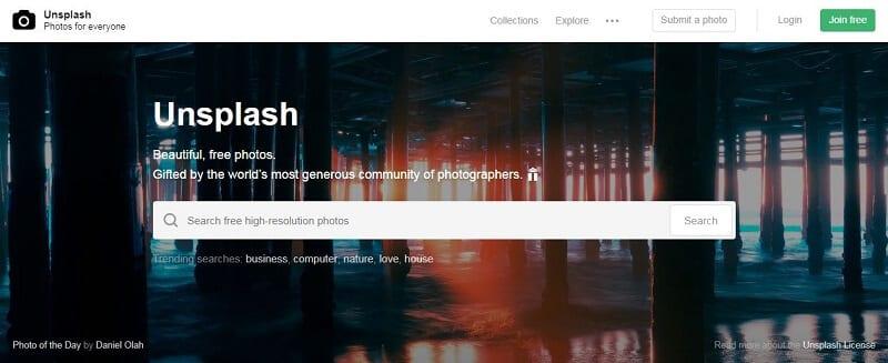 Banque d'images - Capture d'écran d'Unsplash
