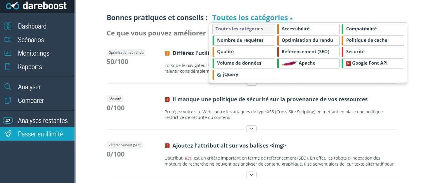 catégories de performance dareboost Com6-interactive